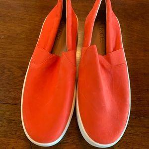 NWOT Vince orange slip on loafers